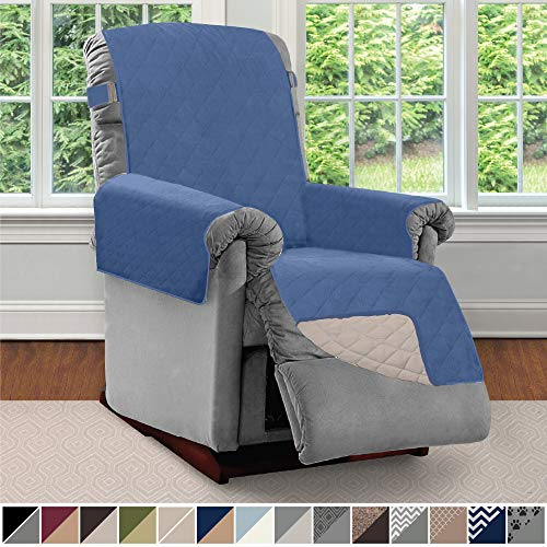 Sofa Shield Original Patent Pending Reversible Small Recliner Protector, Seat Width to 25 Inch, Furniture Slipcover, 2 Inch Strap, Reclining Chair Slip Cover Throw for Pets, Recliner, Denim Lt Taupe