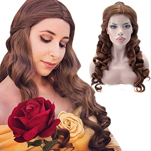 Beauty and the Beast Princess Belle 2019 Wig Mixed Dark Brown Light Brown Long Curly Hair Cosplay 2