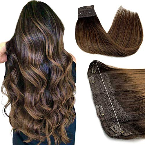 Halo Hair Extensions, Straight Hidden Wire Hair Extensions, Dark Brown with Light Brown Secret Hair Extension, Fish Line Flip in Human Hair Extensions, 14 inch, hotbanana