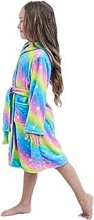 Kids Soft Bathrobe Comfy Flannel Robe Unisex Hooded Gift All Seasons Sleepwear,Bright Yellow Galaxy Unicorn 4 Years Old