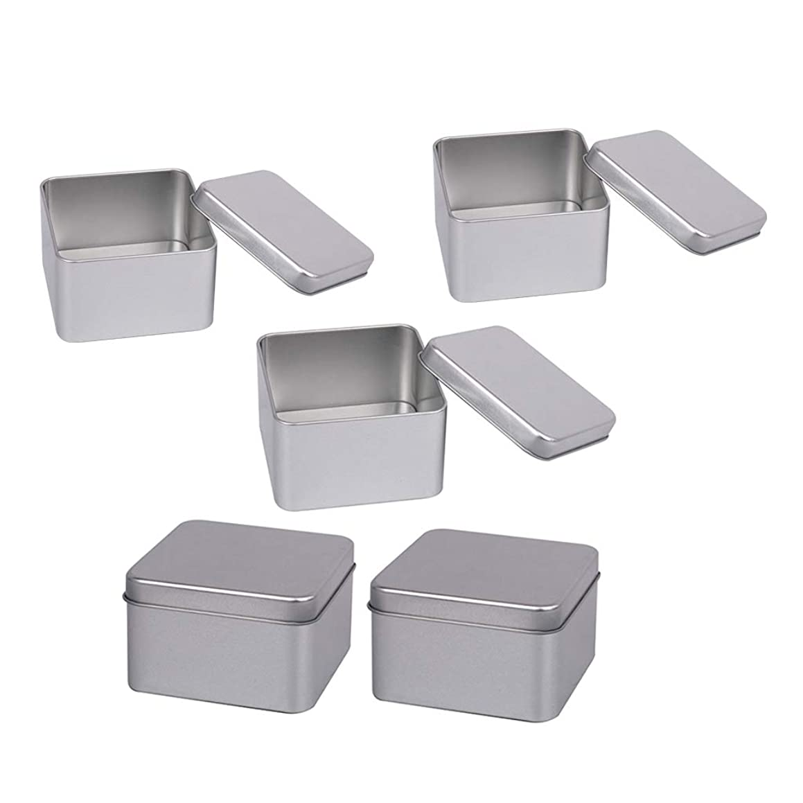振幅現在ガイドdailymall 蓋付き5個の銀金属スズ容器-スパイス、キャンディー、お茶、ギフトに最適