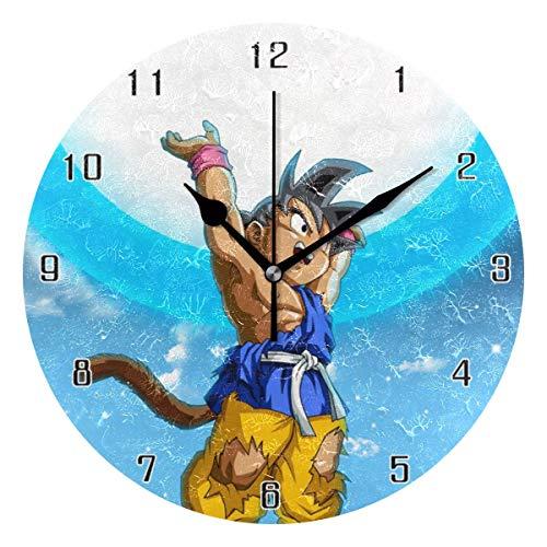 gdingxiantengsubaihuoshang Dragon Ball Goku Ultimative Geisterbombe Welt Runde Wanduhr Wohnkultur Uhr Batteriebetriebene Stille Non-Ticking Tischuhr für Zuhause, Büro, Schule (10 Zoll)