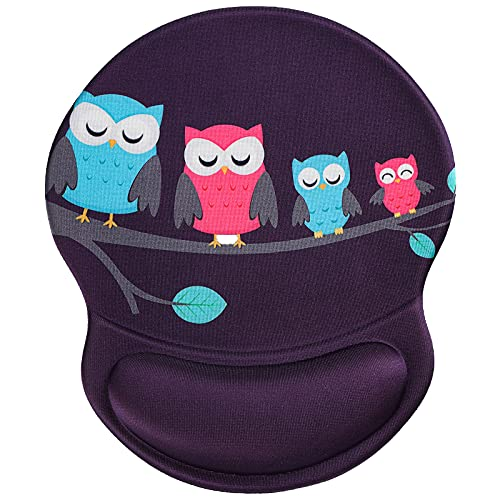 Ergonomic Mouse Pad with Gel Wrist Rest Support, RICHEN Non-Slip PU Base Mouse Pad -Skid Proof & Pain Relief Easy Typing for Computer, Laptop, Home, Office & Travel (Cute Owls)