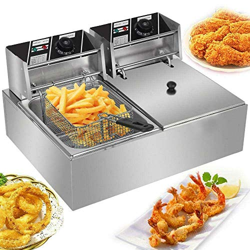 5000W 12L Dual Tanks Electric Countertop Deep Fryer Commercial Stainless Steel Large Capacity Fryer Tabletop Restaurant kitchen Frying Machine with 2 Basket