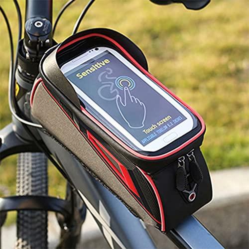 YZX Bolsa Bici, Aire Libre Montaña/Carretera Bicicleta de Ciclo del Frente de la viga del Bolso, el sombreado Impermeable del teléfono móvil de Pantalla táctil de Bicicletas Top Bolso del Tubo,Rojo