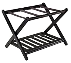 Pack or unpack luggage on Reese Luggage rack with a style Hold any size luggage Solid wood construction in espresso finish Dimension:26.54 in x 18.66 in x 20 inches