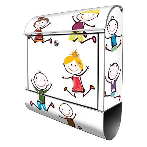 Banjado Design Briefkasten mit Motiv Happy Kids | Stahl pulverbeschichtet mit Zeitungsrolle | Größe 39x47x14cm, 2 Schlüssel, A4 Einwurf, inkl. Montagematerial