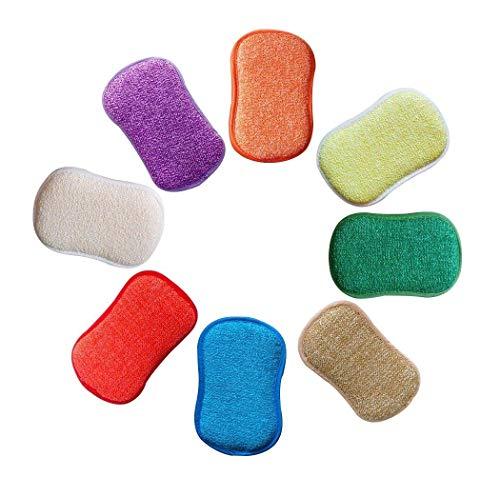 Chensenlin Küche Antibakterielle Scheuerschwämme Doppelseitige Kratzschwämme Geruchsfrei Flachbürste Nonstick, Ideal für Topföfen, 5 Zufällige Farben