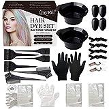 Kit de teinture de cheveux pour salon de beauté, écharpe à cheveux, peigne, bol à colorer, brosse à cheveux, cache-oreilles, gants pour salon de coiffure(48pcs)