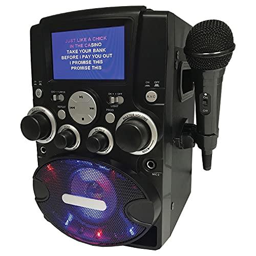 SYLVANIA SKAR128 8-Watt-Max CD-G Bluetooth Karaoke Machine with LCD Screen and Microphone