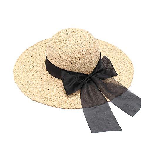 Duyani Ocio Sombrero for el Sol Lafite Sombrero for el Sol Sombrero de Paja Mujeres Playa Grande ala ala Cinta Arco (Color : Light Khaki, Size : 56-58cm)