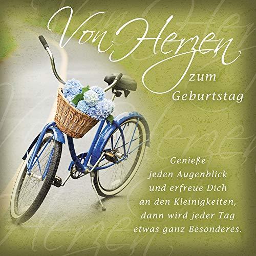Geburtstagskarte Romantica - Fahrrad - 15 x 15 cm