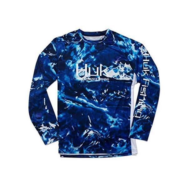 Huk Men's Mossy Oak Pursuit Long Sleeve Shirt | Camo Long Sleeve Performance Fishing Shirt With +30 UPF Sun Protection, Mossy Oak Hydro Reflex, 2X-Large