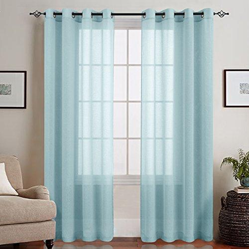 TOPICK Hell Blau Lange Gardinen Vorhang für Wohnzimmer transparent mit Ösen Ösenschal dekoschal Voile 245 x 140 cm (H x B) 2er Set