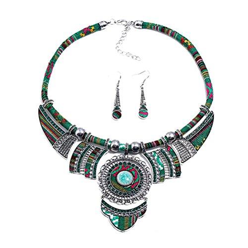 Fenical Set orecchini gioielli vintage bohemien boho gioielli orecchini etnici moda boho gioielli di lusso per le donne ragazza (verde)