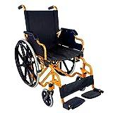 Mobiclinic, Faltrollstuhl, Giralda, Europäische Marke, Rollstuhl für Ältere und Behinderte, Klapparmlehnen und abnehmbare Fußstützen, selbstfahrend, Leichtgewicht, Schwarz-Orange, Sitzbreite 43 cm -