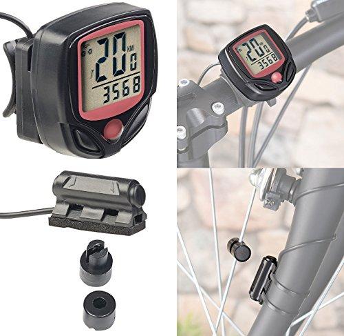 PEARL sports Fahrradtacho: Digitaler 15in1-Fahrrad-Computer mit LCD-Display & Radsensor, IP44 (Velocomputer)
