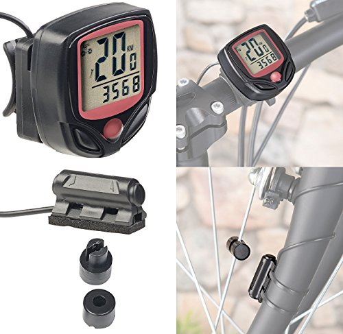 PEARL sports Fahrradtacho: Digitaler 15in1-Fahrrad-Computer mit LCD-Display & Radsensor, IP44 (Velocomputer)
