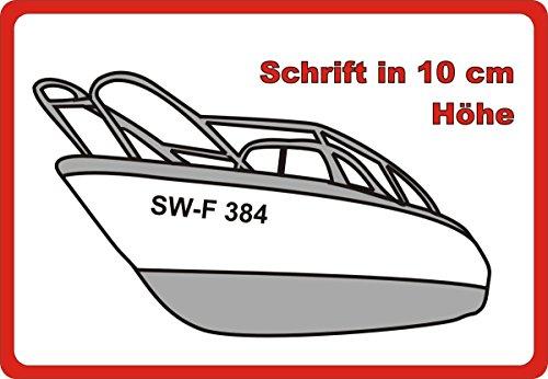 Don Cappello Bootsnummer Bootskennzeichen Kennzeichen Amtliche anerkannte Kennzeichnung für Boote 2 Stück