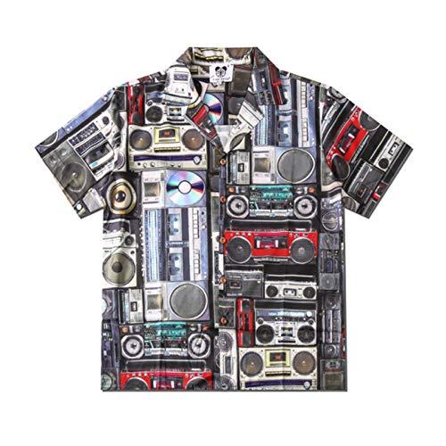 QINGXUEG 3D-Hawaiihemd drucken Strand Audio-CD-Shirt, Kurzarm-Strickjacke reguläre Passform für Männer/Teenager/Studenten