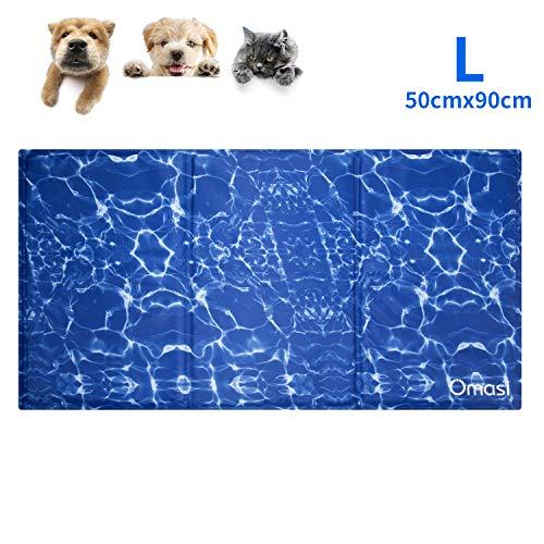 Omasi Kühlmatte Hunde,Kuhlmatte Für Hunde Katzen Haustiere,Kühl Kaltgelpad für Katzen und Hunde Selbstkühlende Bett,benutzt als Kühlkissen Haustier (90X50CM)
