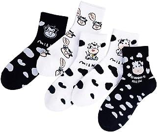 SOIMISS, Calcetines de algodón con estampado de vaca con dibujos animados, 5 unidades
