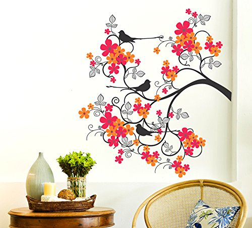 Orange And Orchid Colorful Tree With Sitting Bird Wall Sticker( Pvc Vinyl, 90 Cm X 90 Cm)