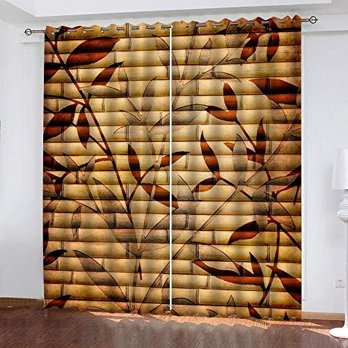 Cortinas Opacos Patrones de Paredes de bambú Amarillo Impresas Perforadas Poliéster Cortinas, Reducción De Ruido Aislante Térmico, para Dormitorio Salón 280x250cm (Ancho x Largo) 2 Paneles