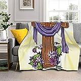 Jesus Christ Lord Cross Flower Light Butterfly Lamb Wool Blanket Throw Fleece Blanket Lightweight Super Soft Bed Microfiber 50' X40''