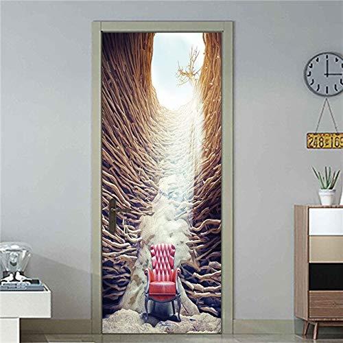 DFKJ Etiqueta engomada de la Puerta Mural calcomanía Papel Tapiz Creativo Aniaml Conejo Paisaje Autoadhesivo para renovar la impresión de la Imagen artística decoración del hogar A5 86x200cm