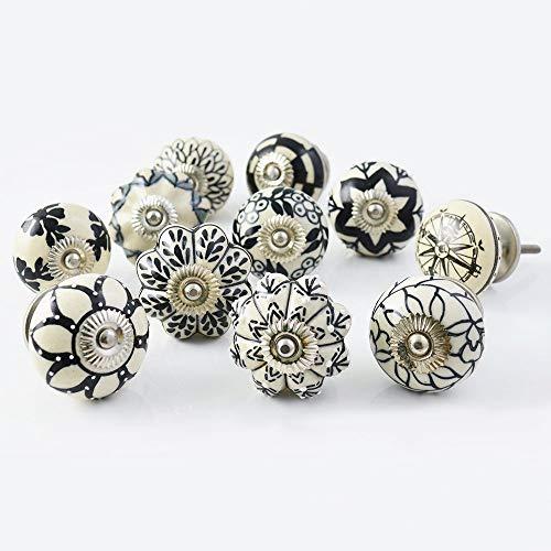 PUSHPACRAFTS - Tiradores de cerámica para armario, 20 unidades, color blanco y negro