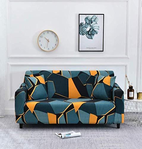 HFTYCC Copridivano per divano, 1-4 posti in tessuto elasticizzato con motivo antiscivolo Divano elastico per poltrona Copridivano per divano-3 posti_Nero Giallo