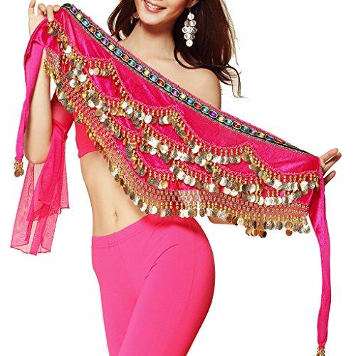 Pilot-Trade Women's Triangular Belly Dancing Hip Scarf Wrap Skirt with Gold Coins Dark Pink