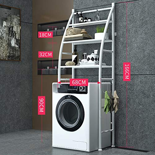 Rejilla para lavadora Racks de almacenamiento doméstico, bastidores de baño de pie, bastidores de ahorro de espacio, bastidores de lavandería de hierro forjado, bastidores de almacenamiento de tres ni