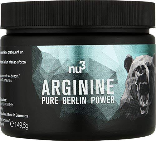 nu3 Arginina Vegana Pura - 160 Capsule ad Alto Dosaggio Senza Glutine - Integratore Alimentare Naturale 2,4G di L-Arginina per Porzione - Migliora Resistenza Crescita Muscolare e Recupero