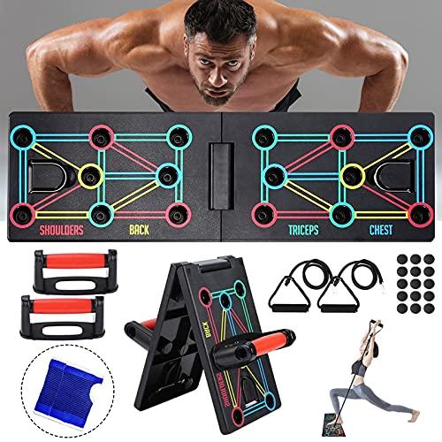 AOUZEA Push Up Rack Board, Unisexo Tablero de Flexiones Portátil Multifuncional Plegable 12 en 1, Maquinas de Gimnasio con Guantes Protectores y Almohadillas de Silicona Antideslizantes
