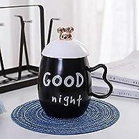 黒と白の英語クリエイティブセラミックカップオフィスマグコーヒーカップ450mlおやすみなさい
