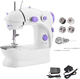 Portable Sewing Machine WADEO Mini Sewing Machine with Adjustable 2-Speed Double Thread Electric Crafting Mending Machine ...