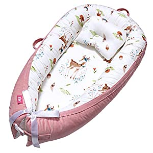 crib bedding and baby bedding eih baby nest,baby lounger co-sleeping baby bassinet for bed newborn lounger 100% soft cotton breathable and portable crib with pillow perfect for traveling and napping (moose)