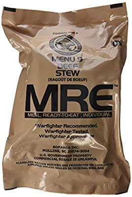 Ultimate 2018 US Military MRE Complete Meal Inspection Date January 2018 or Newer (Beef Stew)
