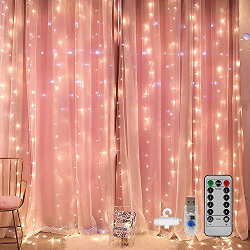 LED USB Lichtervorhang 3m x 3m, 300LED Lichterkettenvorhang mit 8 Modi Lichterkette Gardine für Schlafzimmer Partydekoration Innenbeleuchtung Weihnachten Deko Weiß, Energieklasse A+++
