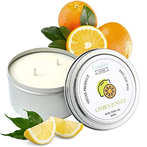 Creative Home Naranja Limón Pomelo Vainilla Vela 100% Cera de Soja | 45 Horas Tiempo de Consumo | 180ml | Aceites Aromáticos Naturales | Hecho a Mano | Vegano | Aromaterapia para Aliviar el Estrés