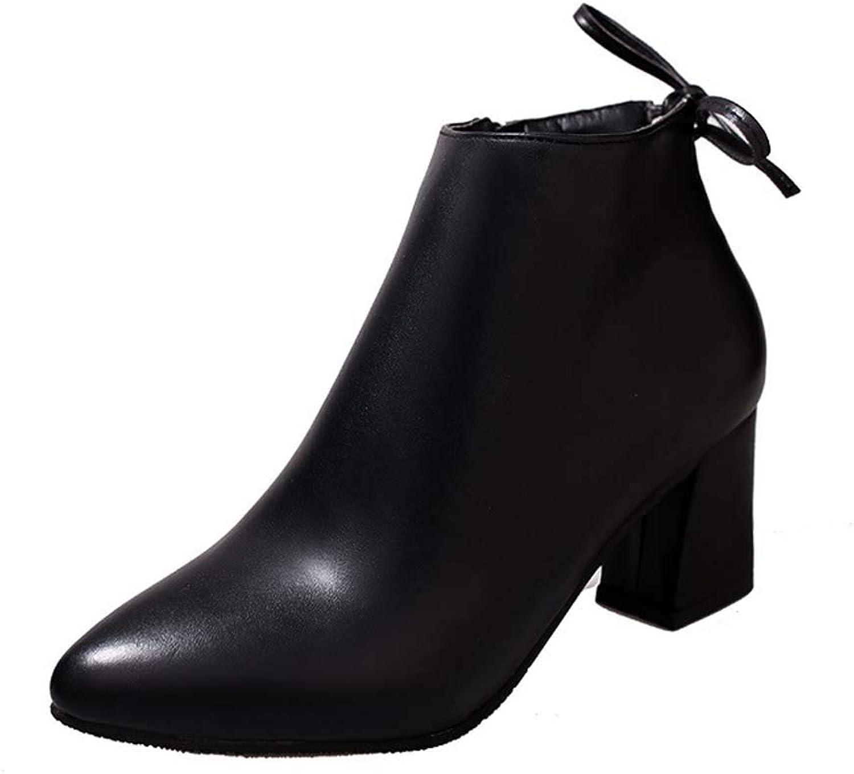 EQEQ Pointed Side Zip High Heel Women's Booties Martin Boots