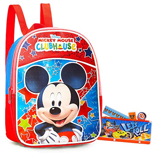 Disney Mickey Mouse Preschool Backpack Toddler (11') Bundle with Mickey School Supplies
