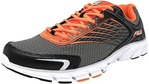 Fila Men's Memory Maranello 2 Dark Silver/Black Vibrant Orange Ankle-High Fabric Running Shoe - 14M