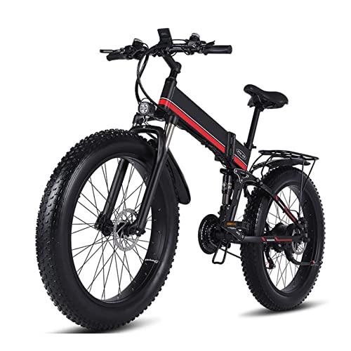 Bicicleta eléctrica de montaña impermeable 1000W Bicicleta plegable para nieve E Bicicleta de 26 pulgadas Neumáticos,Bicicleta eléctrica para adultos de 20MPH con batería extraíble de 12.8Ah