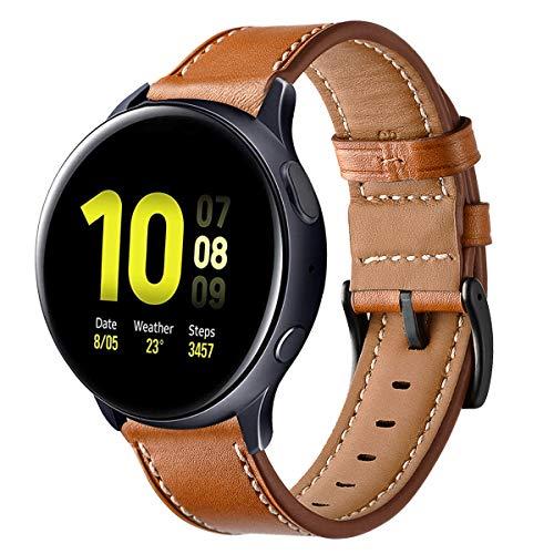 Aimtel Compatible con Samsung Galaxy Watch Active2 correa de 40 mm/Galaxy Watch Active 2 correa de 44 mm, correa de piel de 20 mm para Galaxy Active 2/Galaxy Active 40 mm/Galaxy Watch 3 41 mm (marrón)