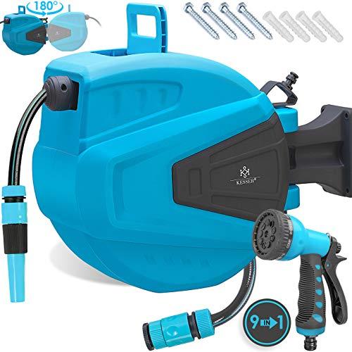 Kesser® Schlauchtrommel 15+2m Schlauchaufroller Wasser | Multi-Handbrause | 180° Schwenkbar | Aufwickelstopper | Wandhalterung | Wand-Schlauchbox | Wasserschlauchtrommel | Gartenschlauch | Blau