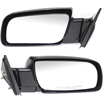 Driver and Passenger Manual Side View Mirrors Standard Type Textured Replacement for GMC Chevrolet Pickup Truck 15977933 15977934