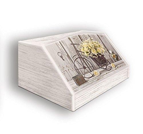 Portapane, Contenitore per Cibo Secco con decoro YELLOW ROSES in legno SHABBY 30x40x20 cm